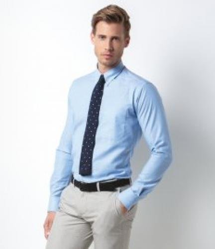 f0773042e50 Kustom Kit Long Sleeve Slim Fit Workwear Oxford Shirt - Black - K184 BLK 14